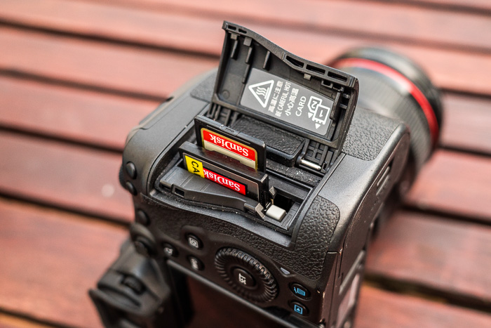 Loading memory cards into the Canon R5 camera