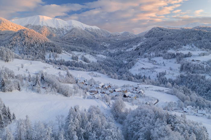 Fotografia de paisagens de inverno nas montanhas