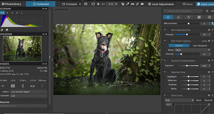 Captura de tela da interface de UX do software de edição de fotos Dxo PhotoLab 4 durante a edição de uma imagem