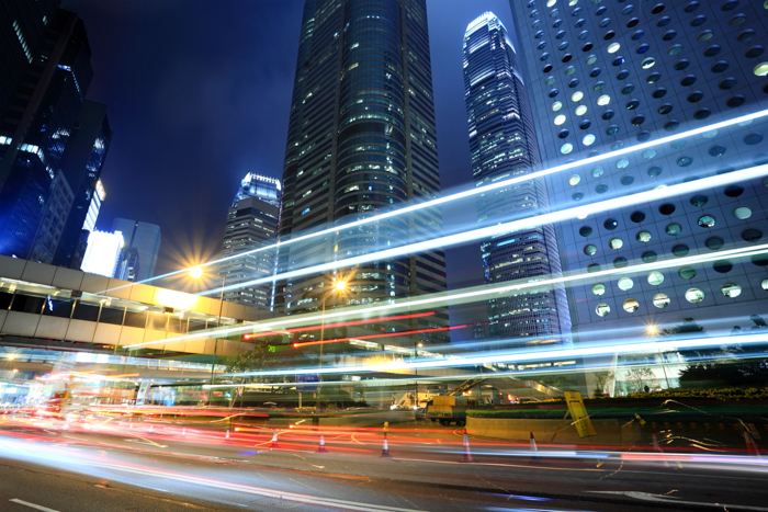 Streaming light trails in a city at night