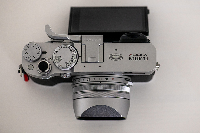 Image of the Fujifilm X100V camera body from the top.