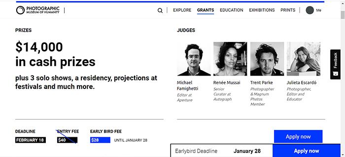 A screenshot of PHmuseum Photography Grant website
