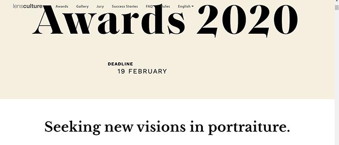 Captura de tela do site do LensCulture Portrait Awards