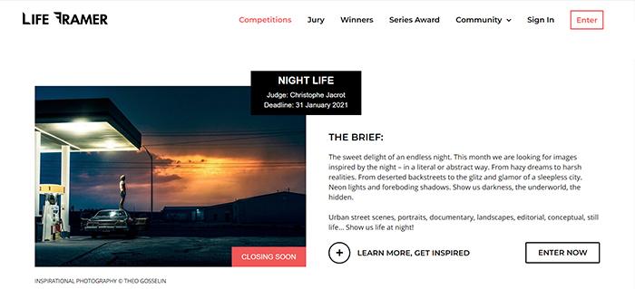 Captura de tela do site do concurso de fotografia Life Framer Competitions