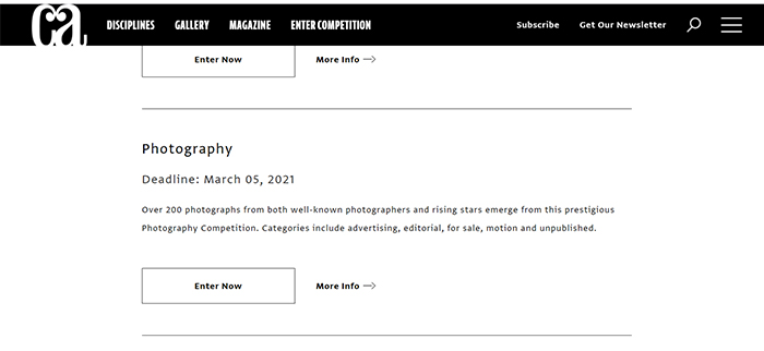 Screenshot of the Communication Arts Photography Competition