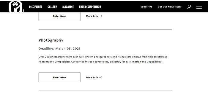 Captura de tela do Concurso de Fotografia de Artes da Comunicação
