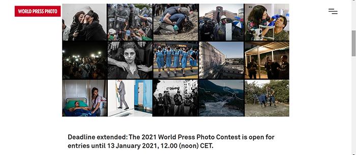 Screenshot of the World Press Photography Awards website