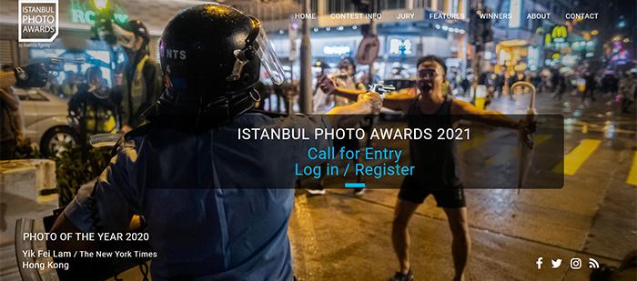 Uma captura de tela do site do Istanbul Photo Awards
