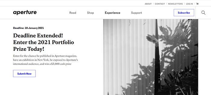 Uma captura de tela do site do Aperture Portfolio Prize