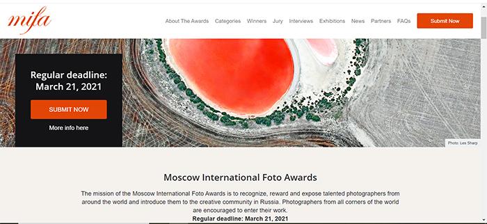 Captura de tela do site do Moscow International Photography Awards