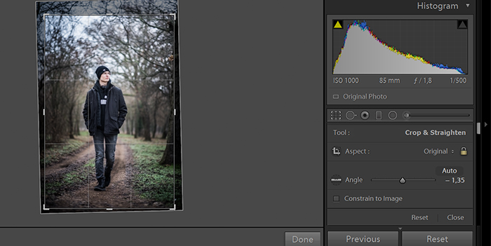 Cropping tool of a photo editing software