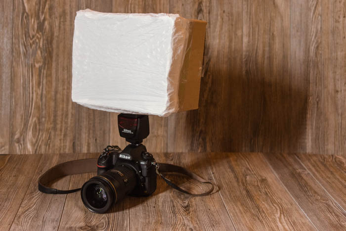 Image of a DIY softbox attached to a DSLR camera hack