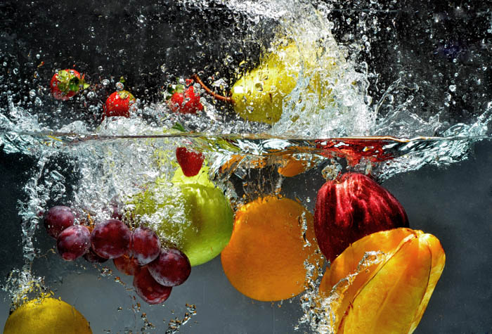 Fresh Fruit and Vegetables being shot as they submerged under water.