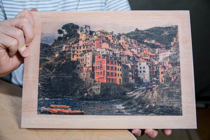 Image of a photograph transferred to wood
