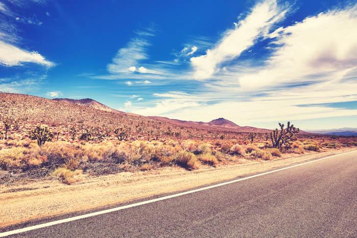 Uma imagem saturada de uma rodovia e o deserto atrás dela.