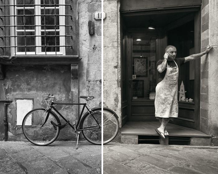 Homem em bicicleta de rua italiana