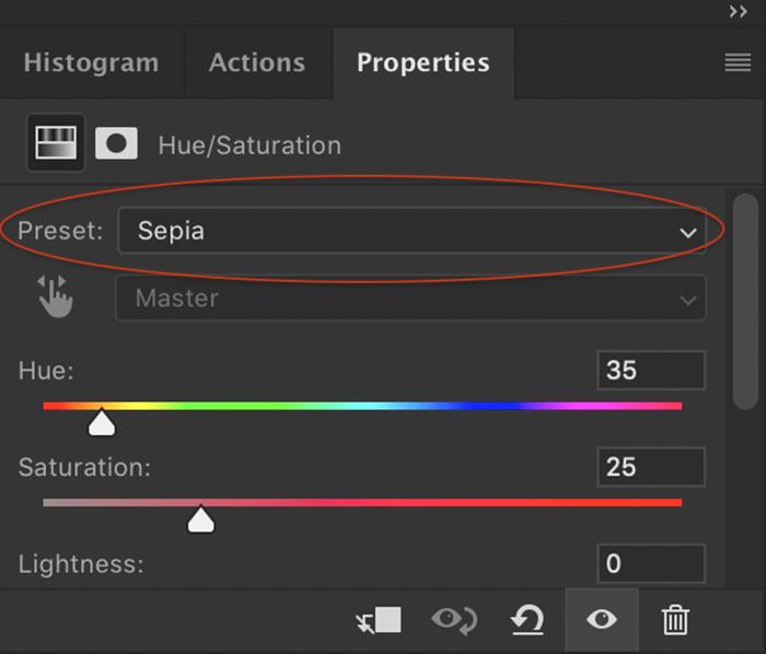 Captura de tela do Photoshop do menu da camada de ajuste de saturação de matiz