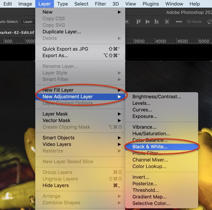 Captura de tela da camada de ajuste do Photoshop