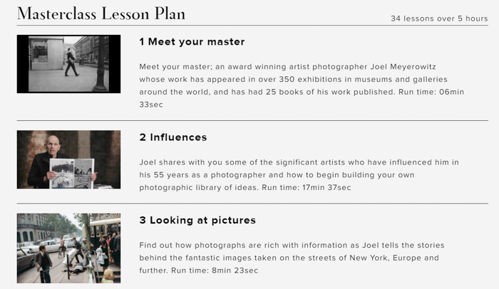 A screenshot of Joel Meyerowitz masterclass contents and structure
