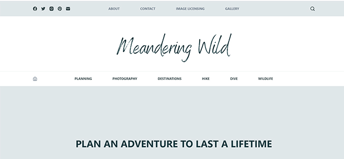 screenshot of meandering wild travel photography blog