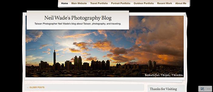 screenshot of neil wade travel photo blogger
