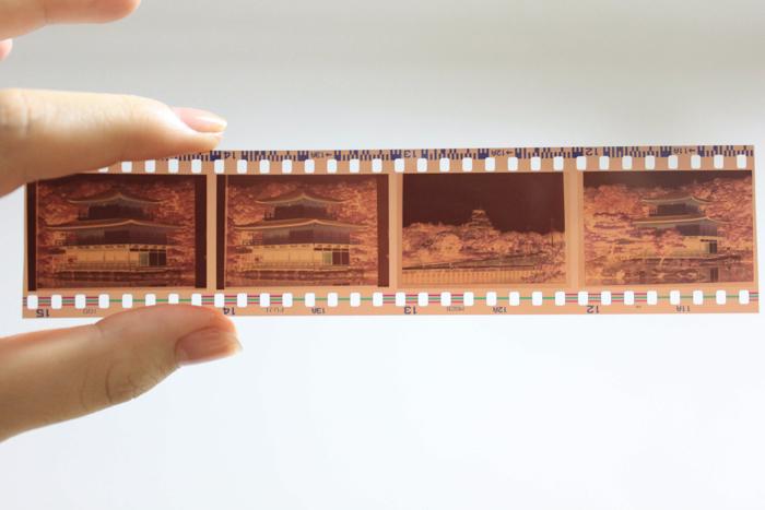 Uma mão segurando uma lâmina negativa de 35 mm