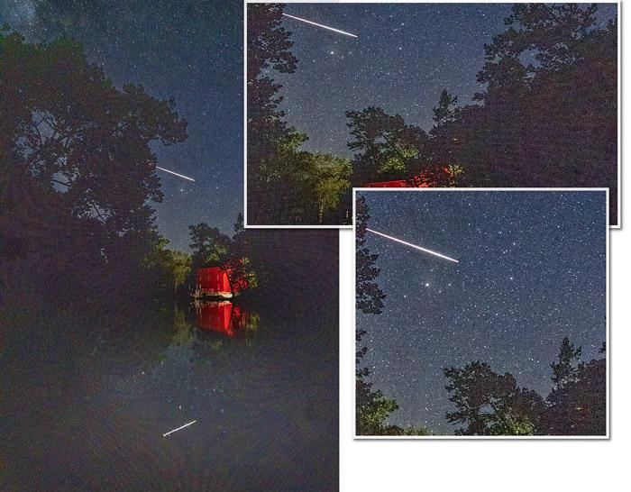 Céu noturno com close-up de meteorito