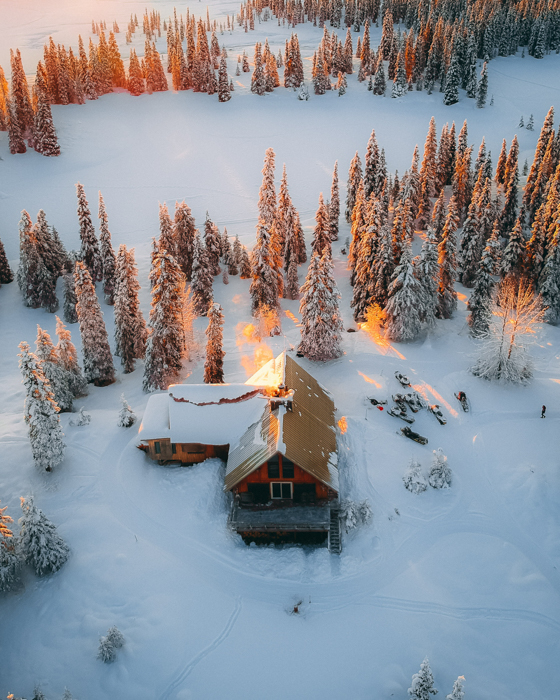 aerial photograph of pines, snow and a cottage in sunrays