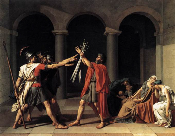 an image of the painting Oath of the Horatii by Jacques-Louis David