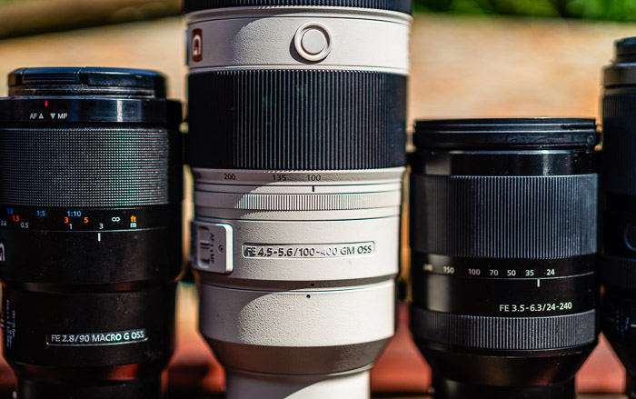four lenses in a row