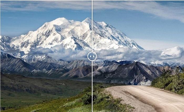 Exibir uma foto antes e depois de uma cordilheira usando predefinições gratuitas do Lightroom
