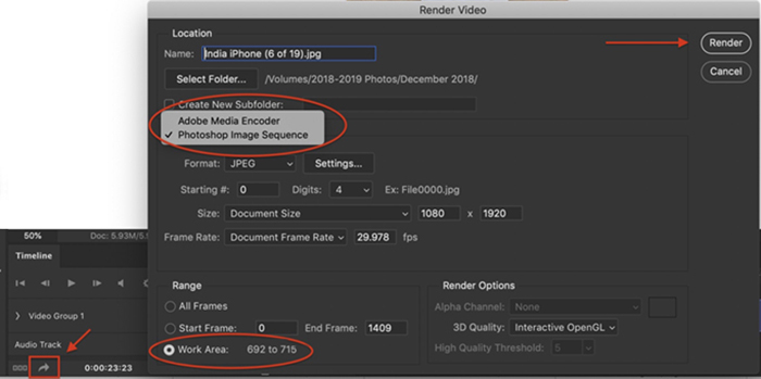 Screenshot Photoshop render video dialogue box