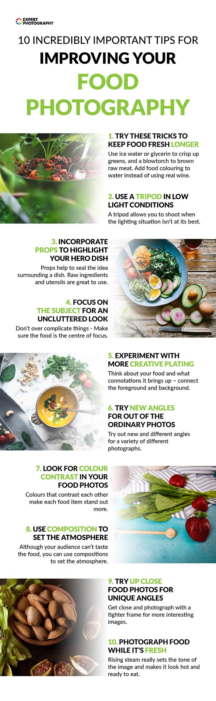Folha de referências para ajudar o aluno a melhorar suas habilidades em tirar fotos de alimentos