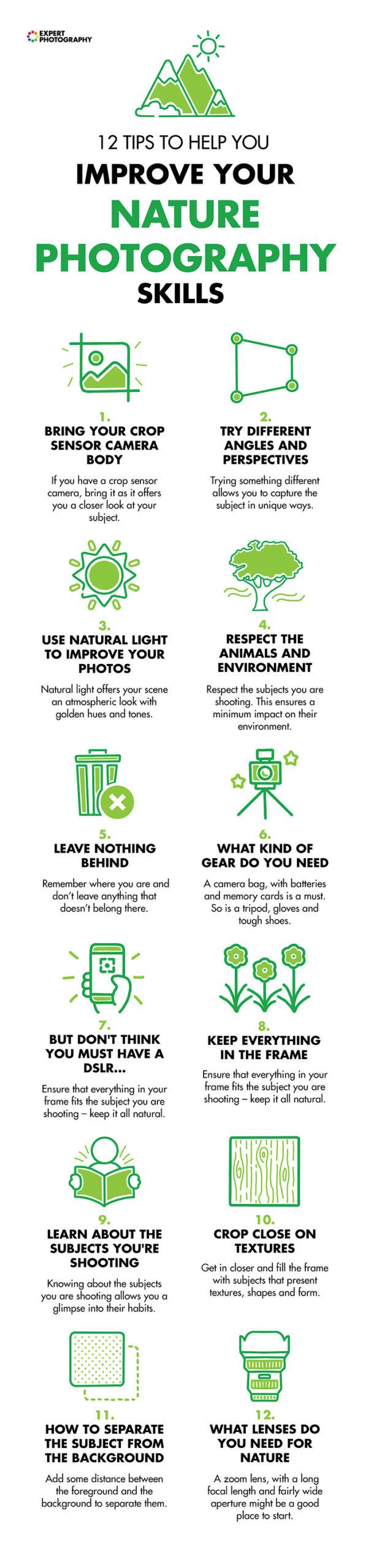 Um truque com 12 conceitos de fotografia da natureza para ajudar os alunos a melhorar suas habilidades