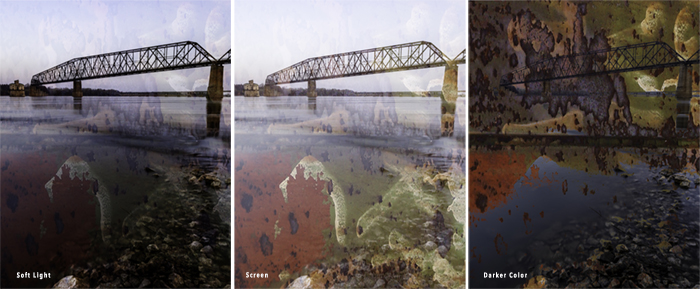 Compare three texture blending modes in Photoshop