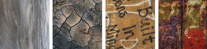 texture samples water, mud, graffiti, rust