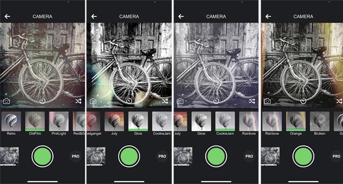 Screenshots black and white camera app bicycles