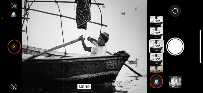 iPhone monochrome camera boy in boat