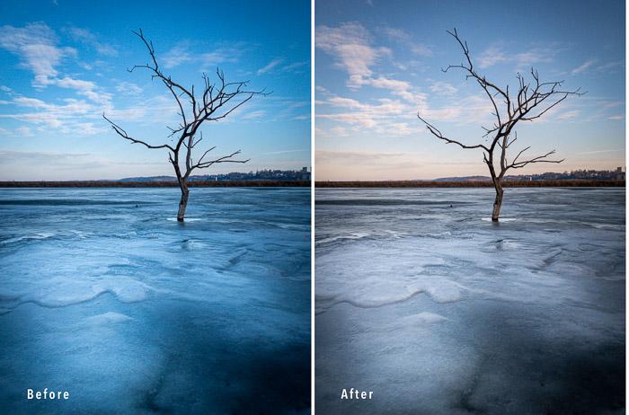 σύγκριση δίπτυχο δύο φωτογραφιών ενός δέντρου πάγου για να δείξει τη θερμοκρασία χρώματος