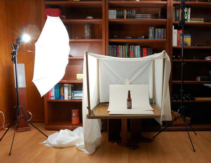 Ένα ελαφρύ κουτί φωτογραφίας προϊόντων από κουρτίνα ντους