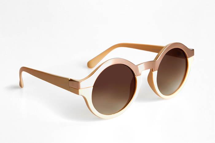 μια φωτογραφία προϊόντος DIY στρογγυλών γυαλιών ηλίου φακού σε λευκό φόντο