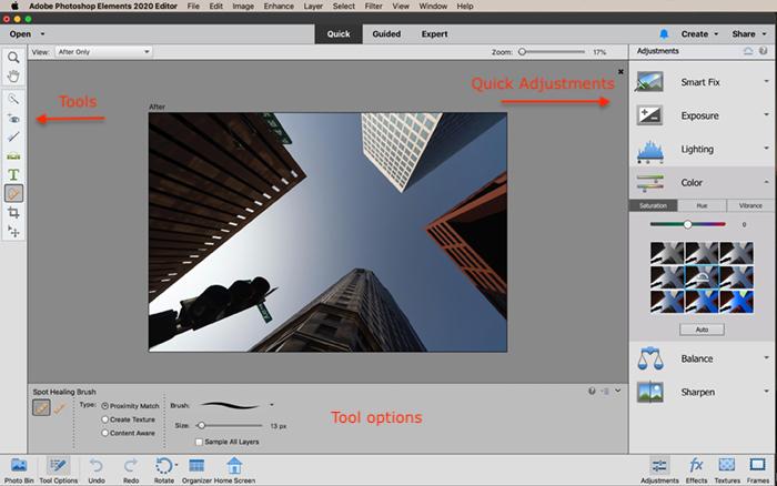 Captura de tela da área de trabalho de edição rápida do Photoshop Elements