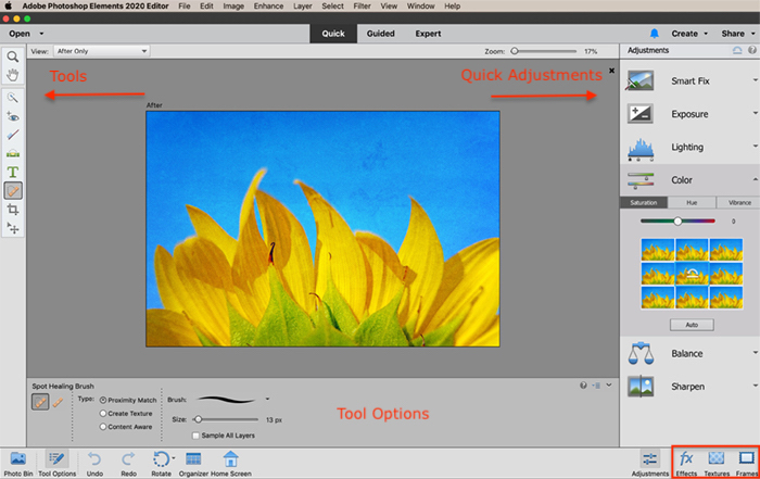 captura de tela elementos do photoshop espaço de trabalho de edição rápida