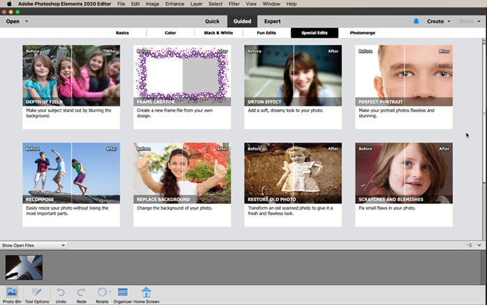 Captura de tela da área de trabalho guiada do Photoshop Elements