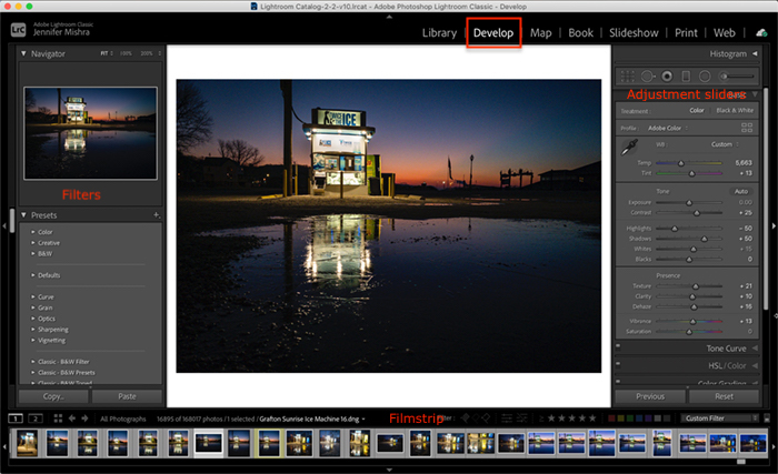 Captura de tela da área de trabalho do módulo Lightroom Classic Develop