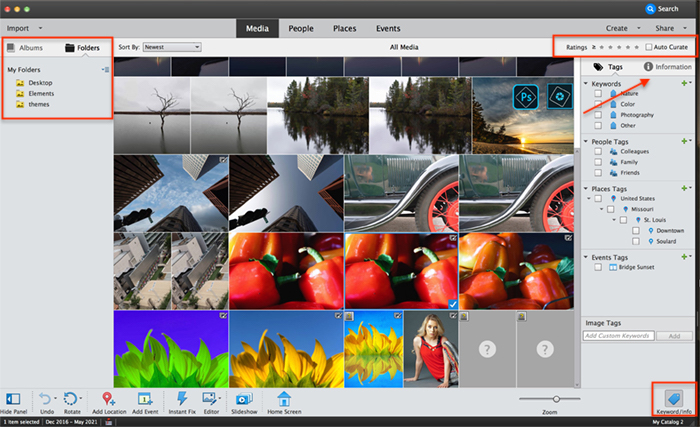 Captura de tela do organizador de elementos do photoshop