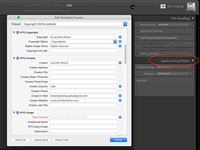 captura de tela da predefinição de metadados de importação do lightroom