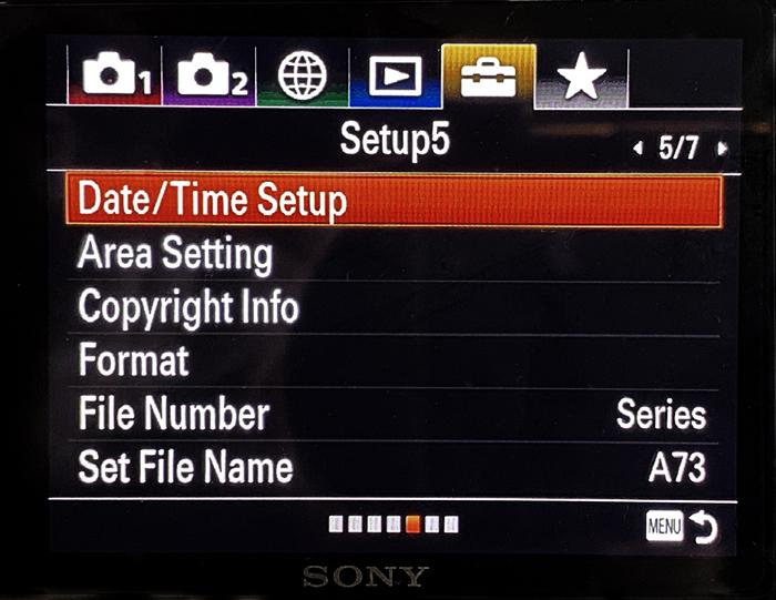Tela de informações Sony A7R3