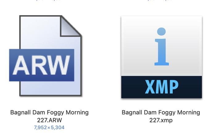 Ícones de arquivo RAW e XMP