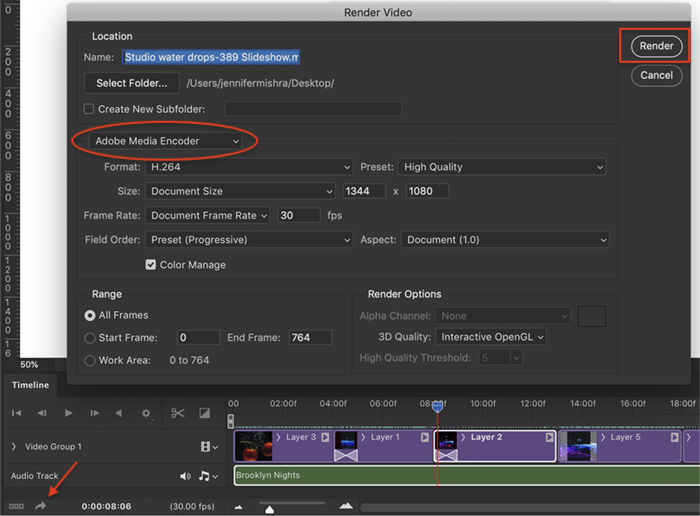 Photoshop screenshot render video